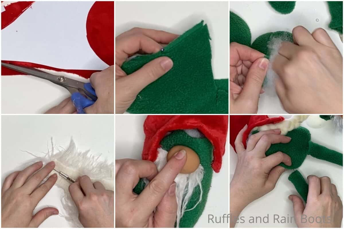 photo collage tutorial of how to make a sewn gnome pattern using the bubble body gnome pattern