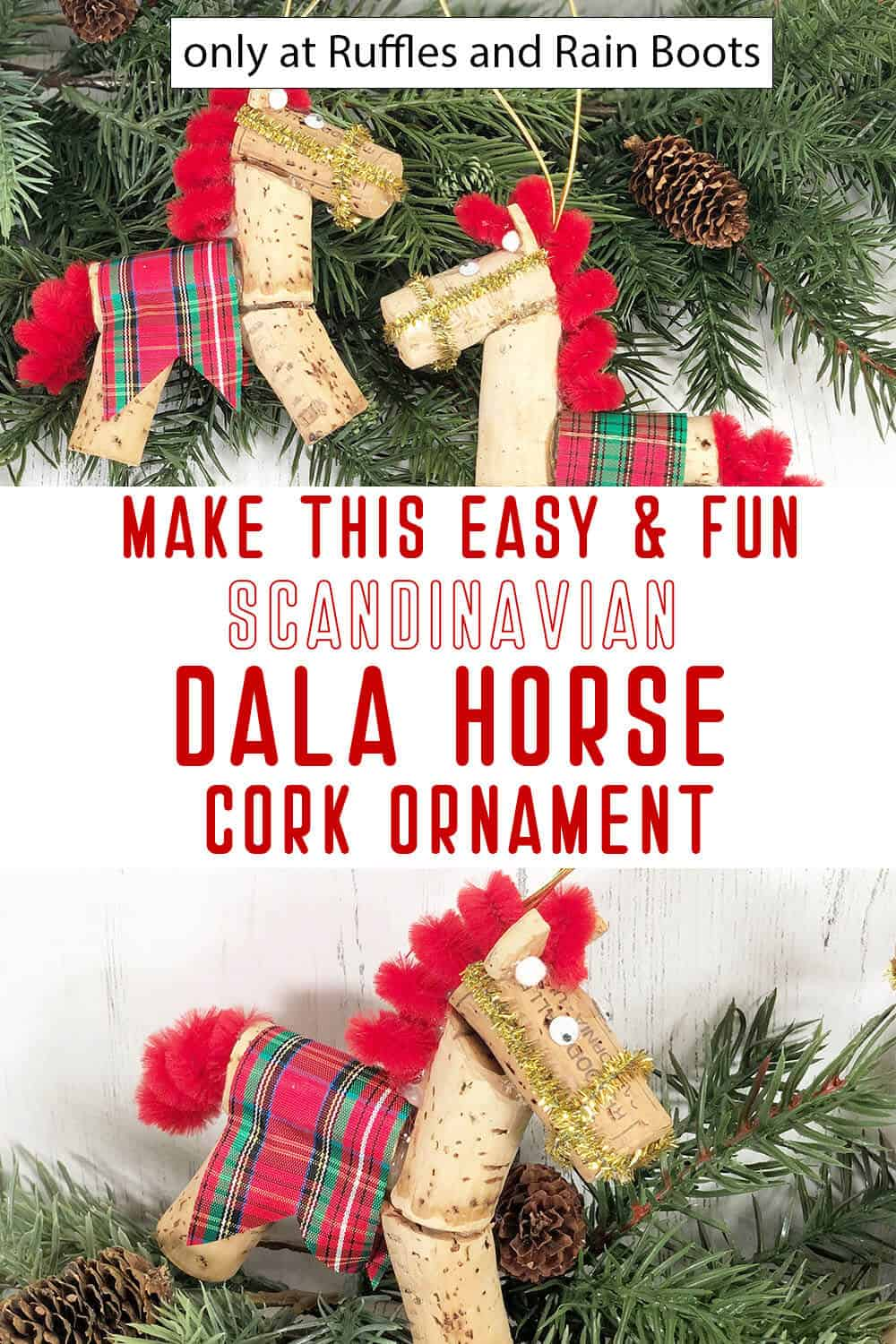 DIY scandinavian horse ornament with text which reads make this easy & fun scandinavian dala hors cork ornament
