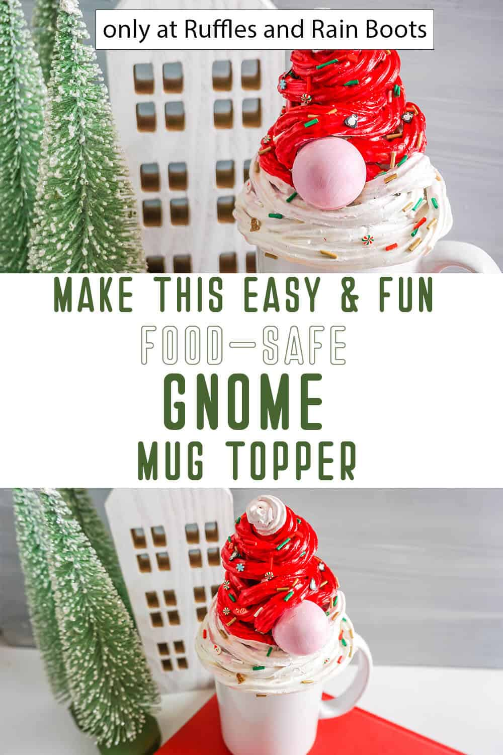 photo collage of mug topper gnome diy craft with text which reads make this easy & fun food-safe gnome mug topper