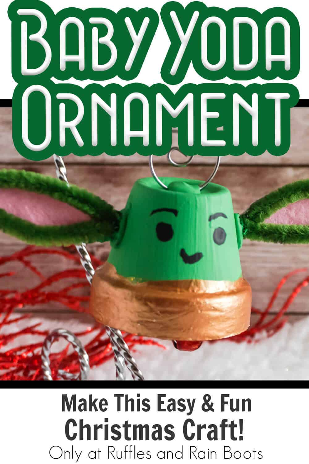 mandalorian inspired baby yoda ornament kids craft with text which reads baby yoda ornament make this easy & fun christmas craft!