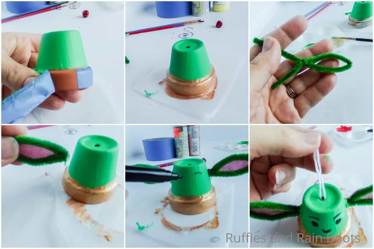photo collage tutorial of how to make a baby yoda ornament