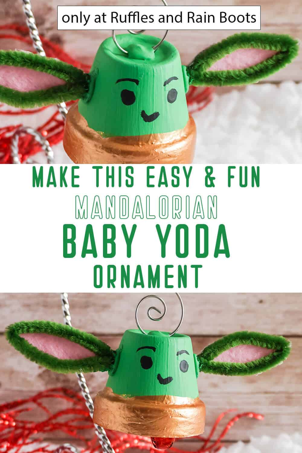 photo collage of christmas ornament baby yoda with text which reads make this easy & fun mandalorian baby yoda ornament