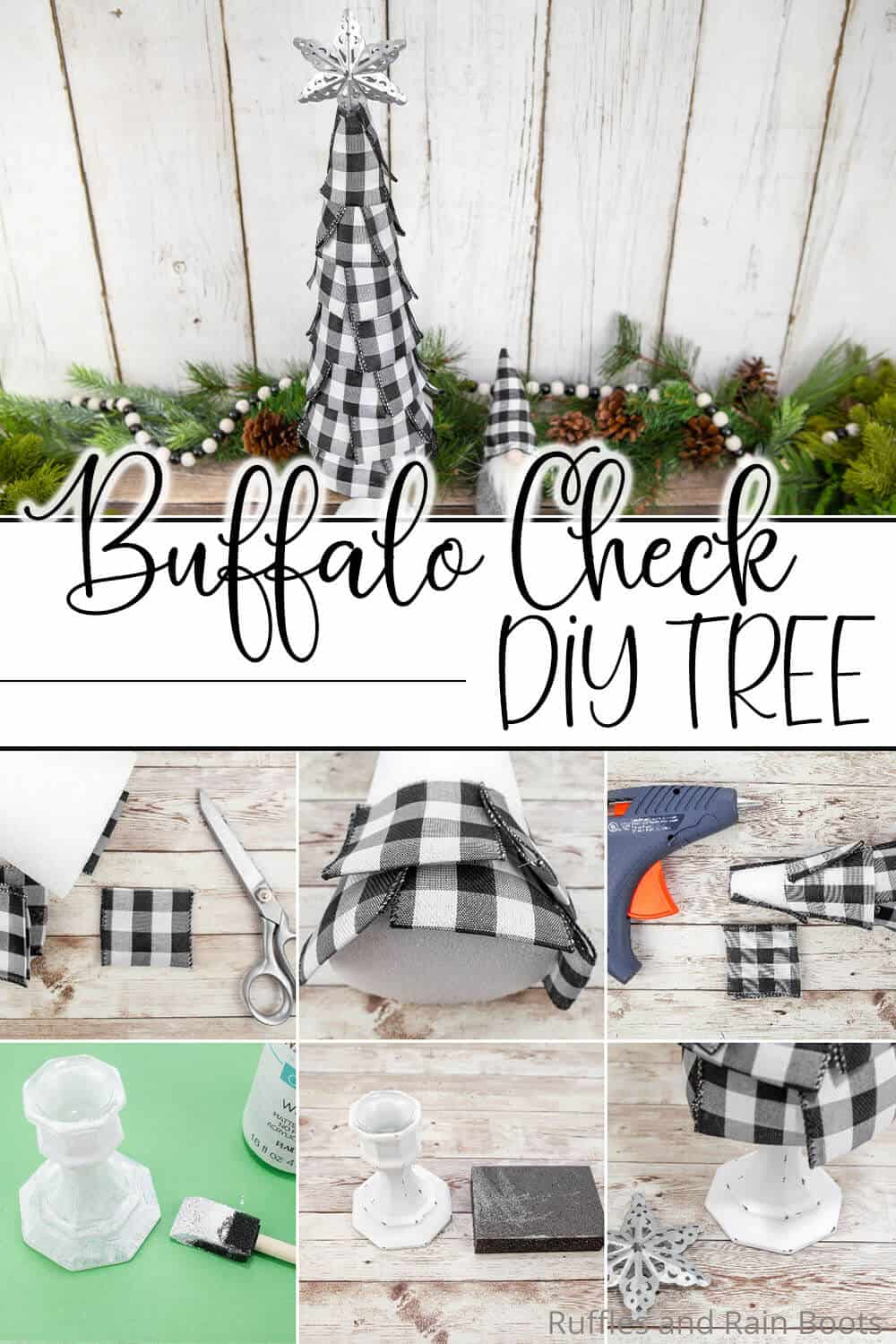 photo collage of diy buffalo check christmas tree craft with text which reads buffalo check diy tree