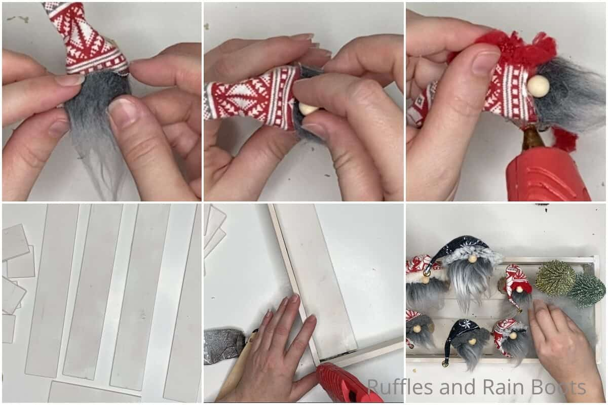photo collage tutorial of how to make a mini log gnome table decoration