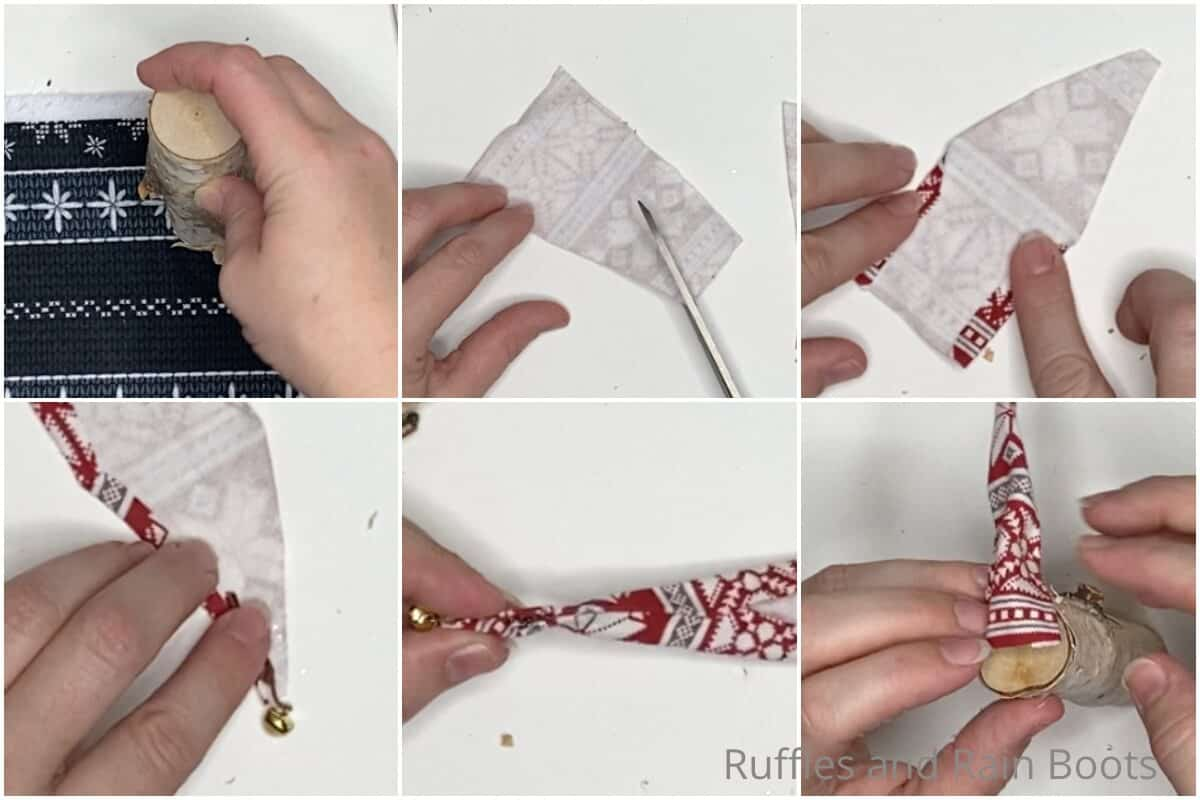 photo collage tutorial of how to make a mini log gnome centerpiece