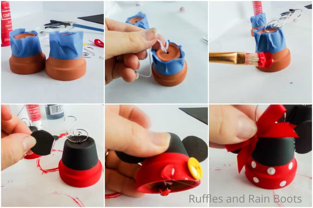 photo collage tutorial of how to make mickey & minnie ornaments