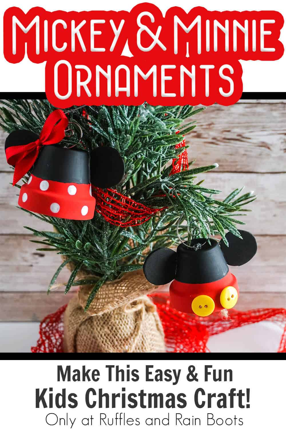 handmade christmas ornament set mickey and minnie with text which reads mickey & minnie ornaments make this easy & fun kids christmas craft!