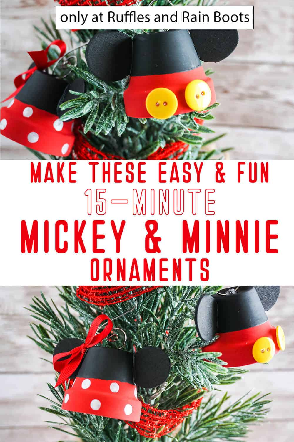 photo collage of easy diy disney ornament craft for kids with text which reads make these easy & fun 15-minute mickey & minnie ornaments