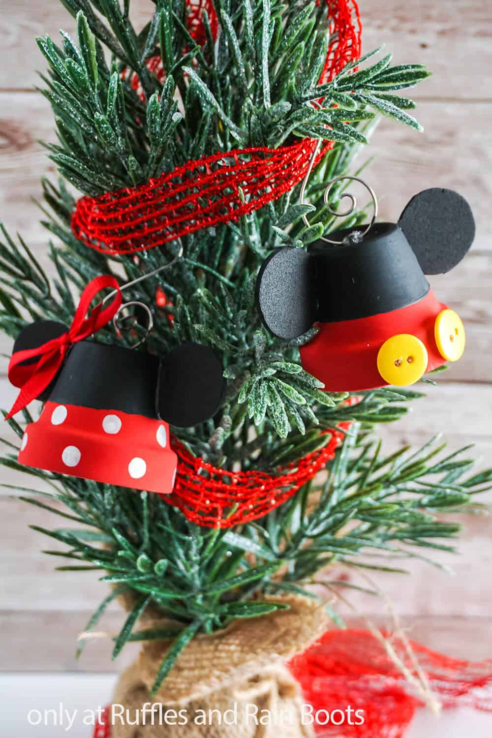 diy bell ornament craft with mickey and minnie