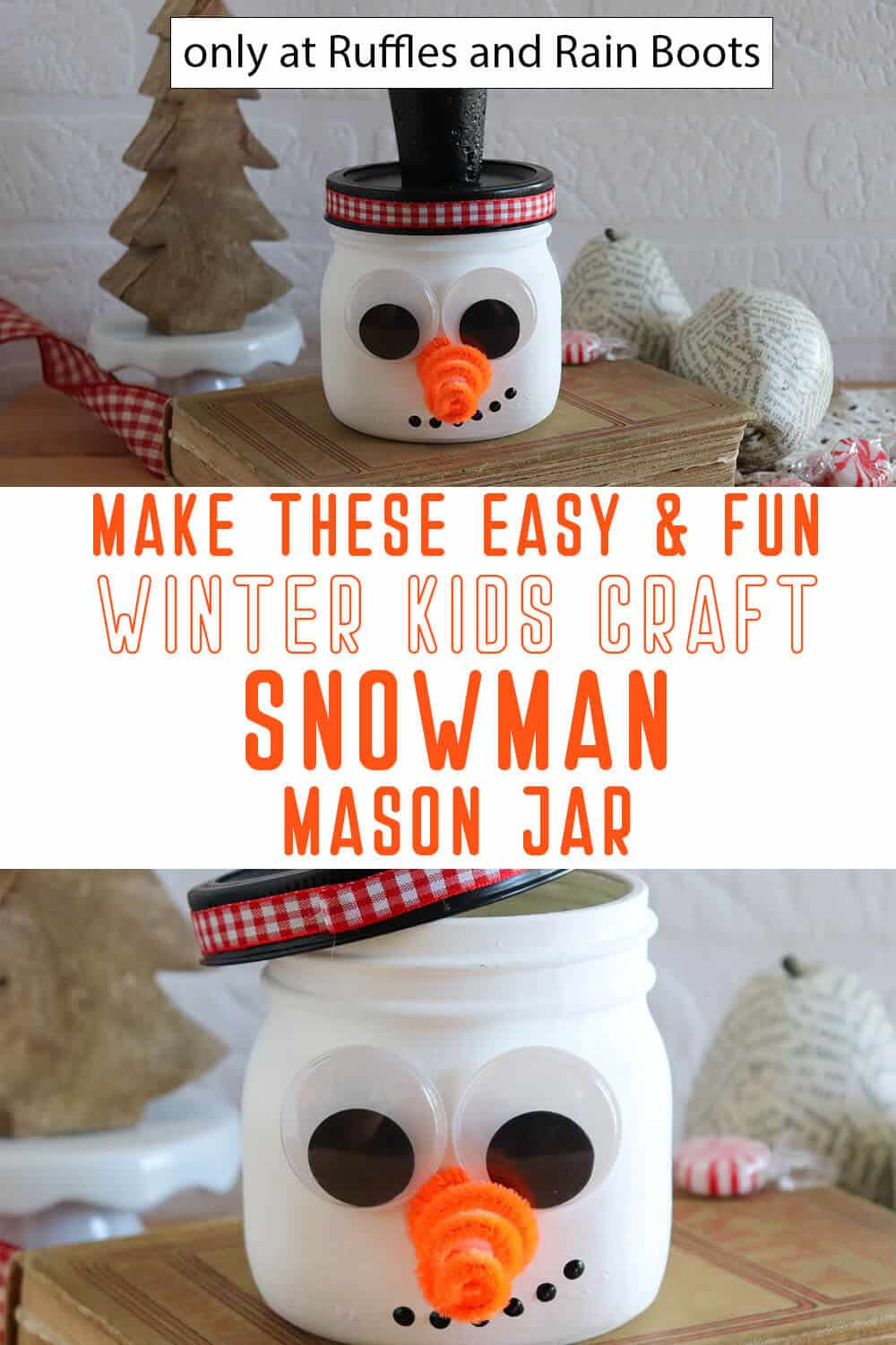 photo collage of frosty the snowman painted jar kids craft with text which reads make these easy & fun winter kids craft snowman mason jar