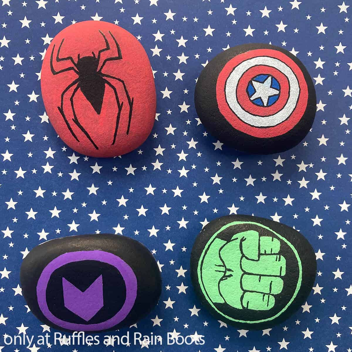rock painting instructions for superheroes