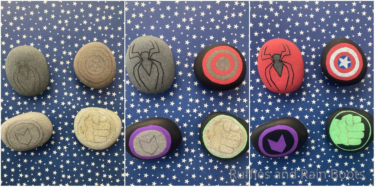 photo collage of how to make marvel painted rocks