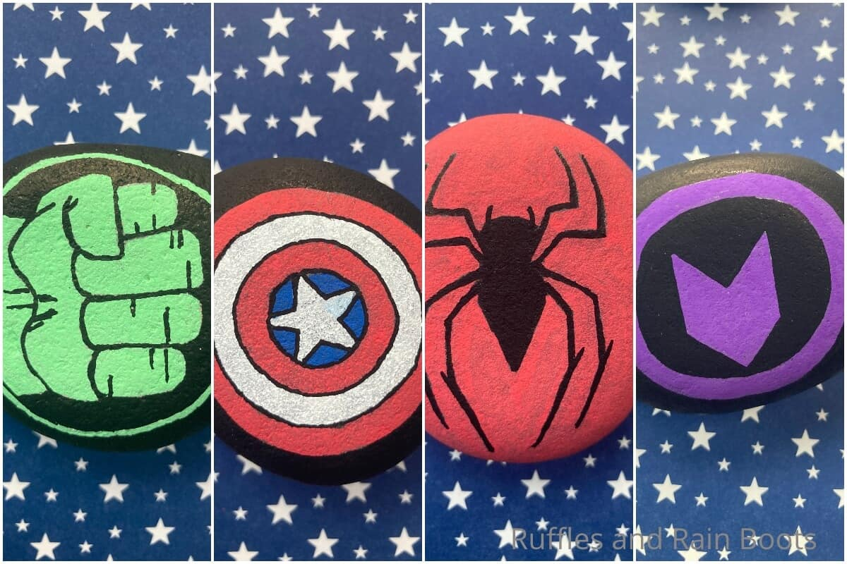 photo collage of easy marvel rock painting craft for kids