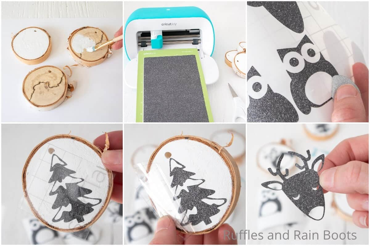 photo collage tutorial of how to make easy wood slice ornament cricut craft