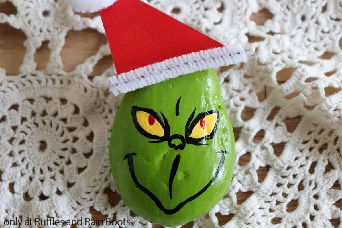 rock painted like the grinch