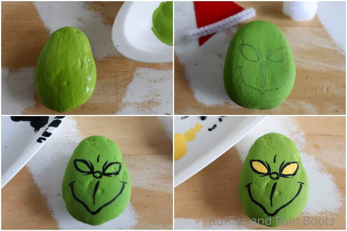 photo collage tutorial of how to make a grinch painted rock