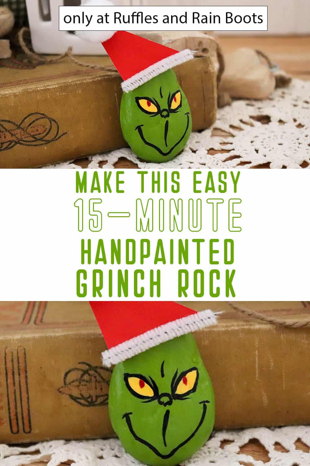 photo collage of grinch rock painting tutorial with text which reads make this easy 15-minute hand painted grinch rock