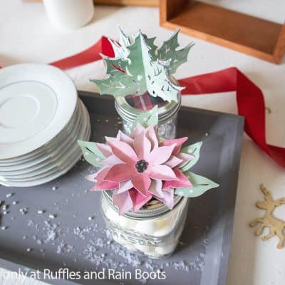 This Paper Poinsettia Jar Topper Cricut Craft Makes a Great Gift Decoration!