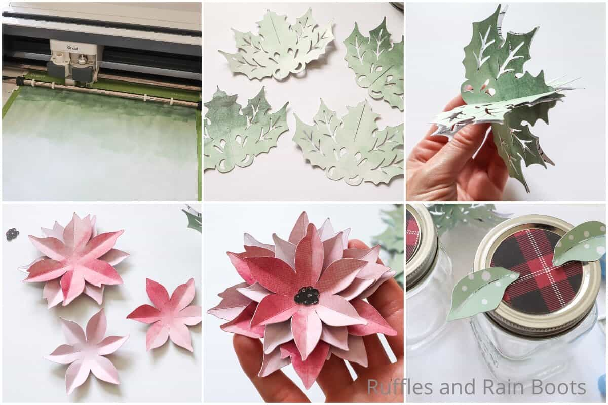 photo collage tutorial of how to make a poinsettia jar topper