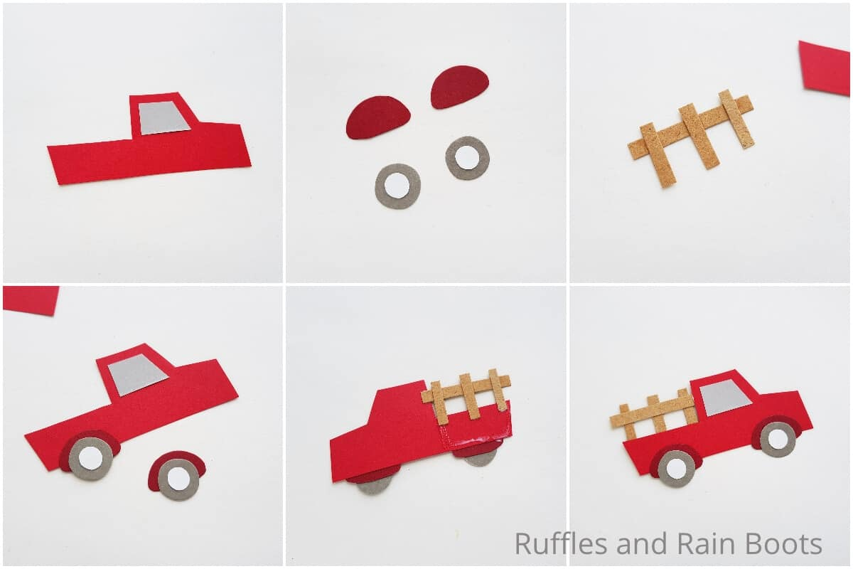 photo collage tutorial of how to make a red farm truck kids paper craft