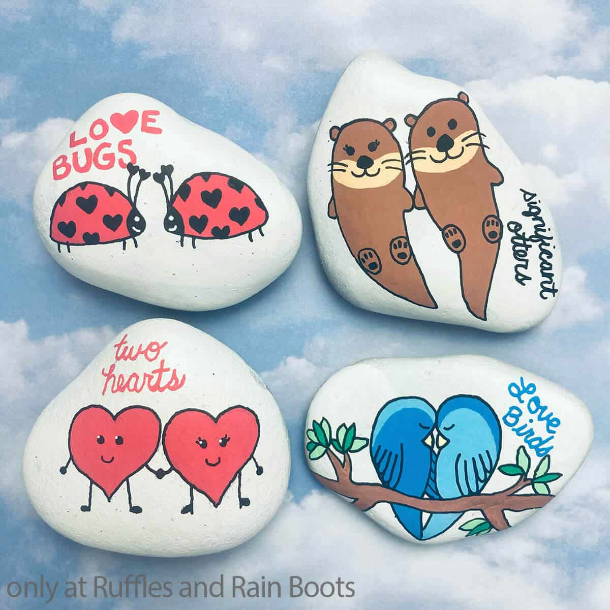 diy rock paining tutorial for valentines couple