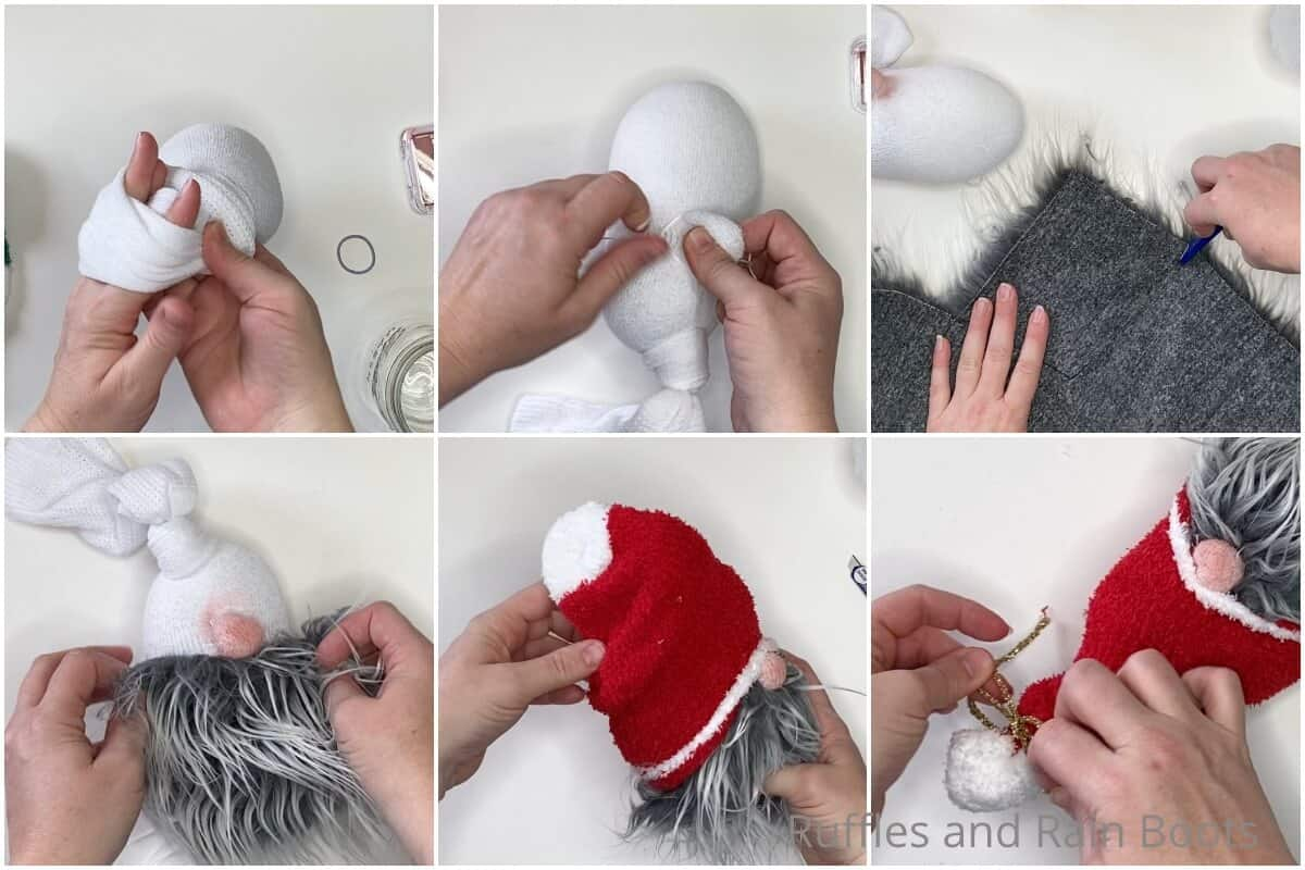 photo collage tutorial of how to make a sock gnome in 3 minutes