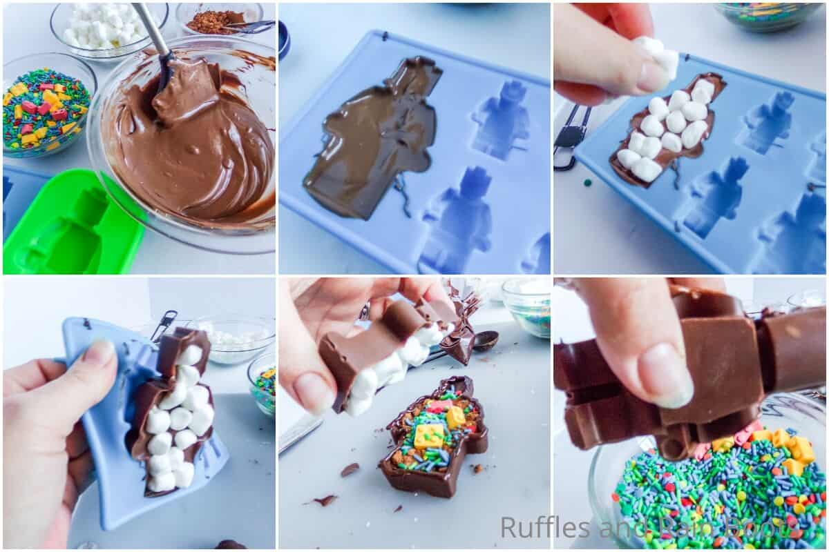 photo collage tutorial of how to make a lego hot cocoa bombs