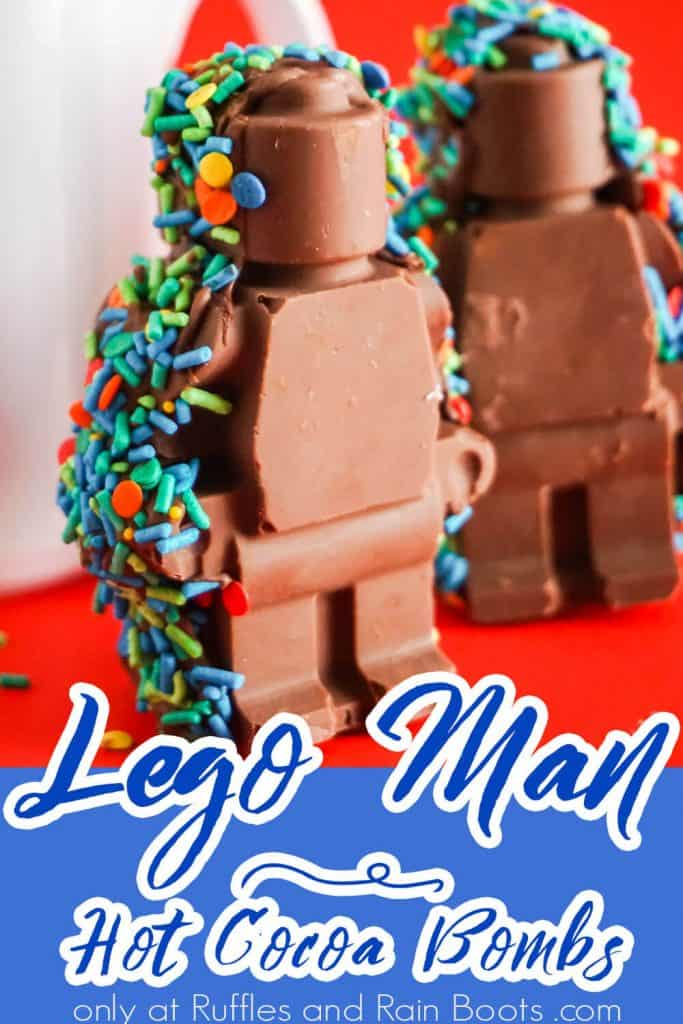 hot chocolate bomb lego men with text which reads lego man hot cocoa bombs
