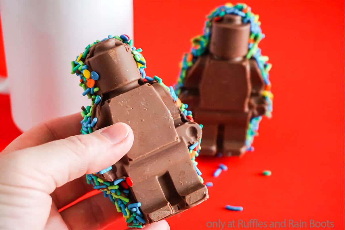 diy hot cocoa bomb shaped like a lego man