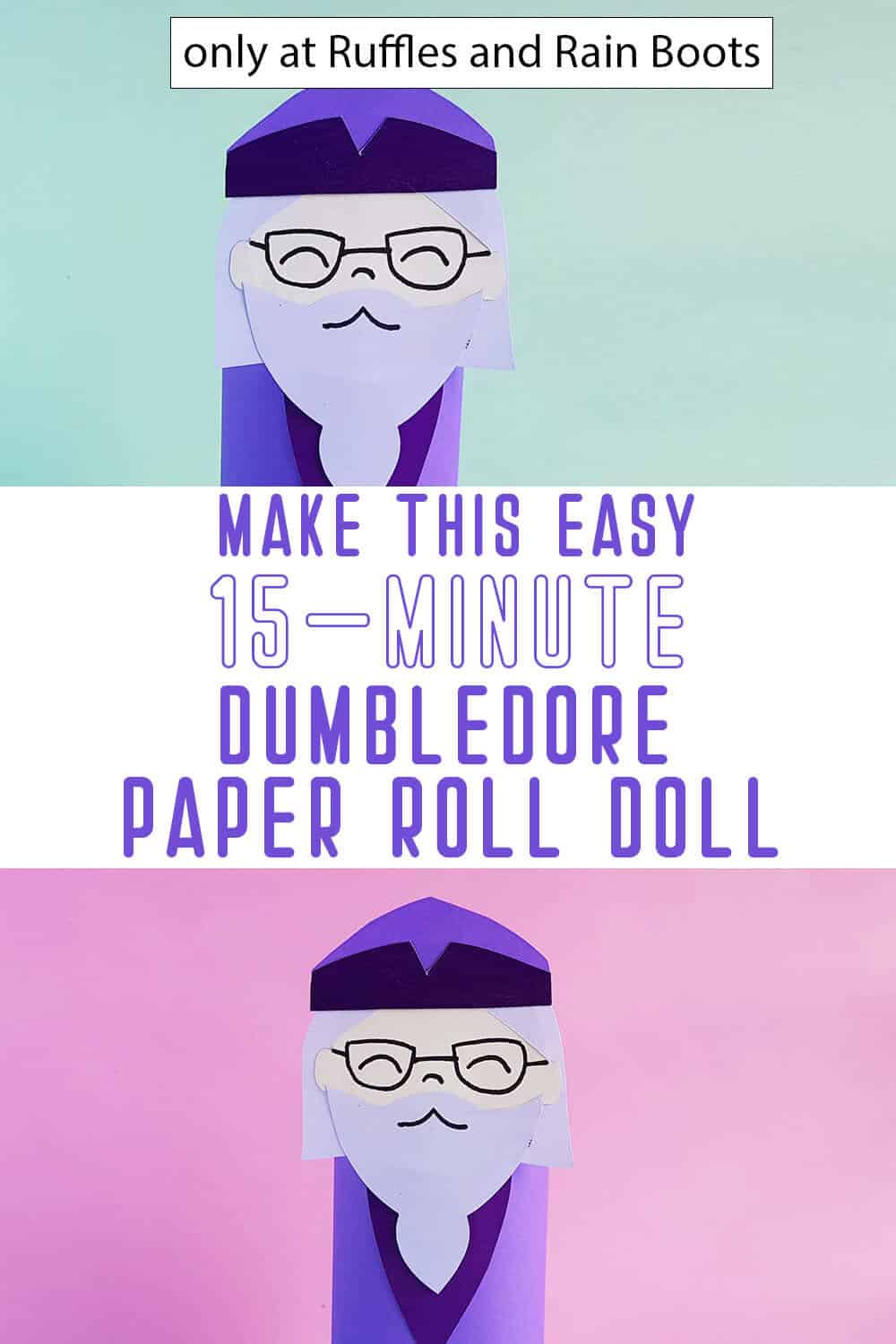 photo collage of paper roll dumbledore doll with text which reads make this easy 15-minute dumbledore paper roll doll
