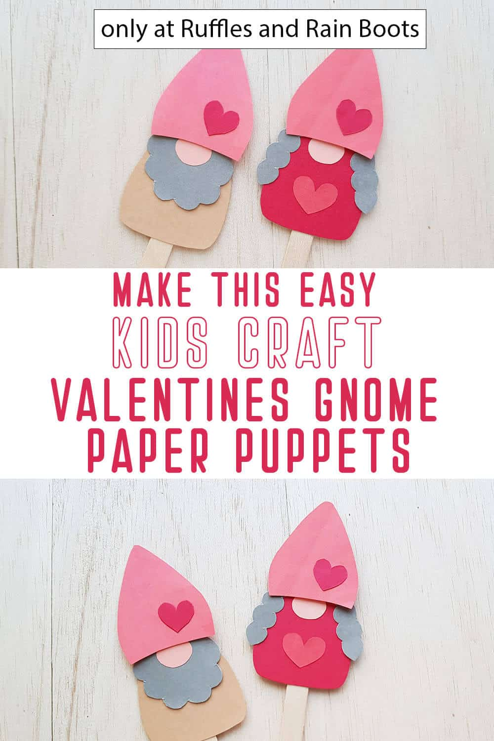photo collage of valentine gnome puppets craft for kids with text which reads make this easy kids craft valentines gnome paper puppets