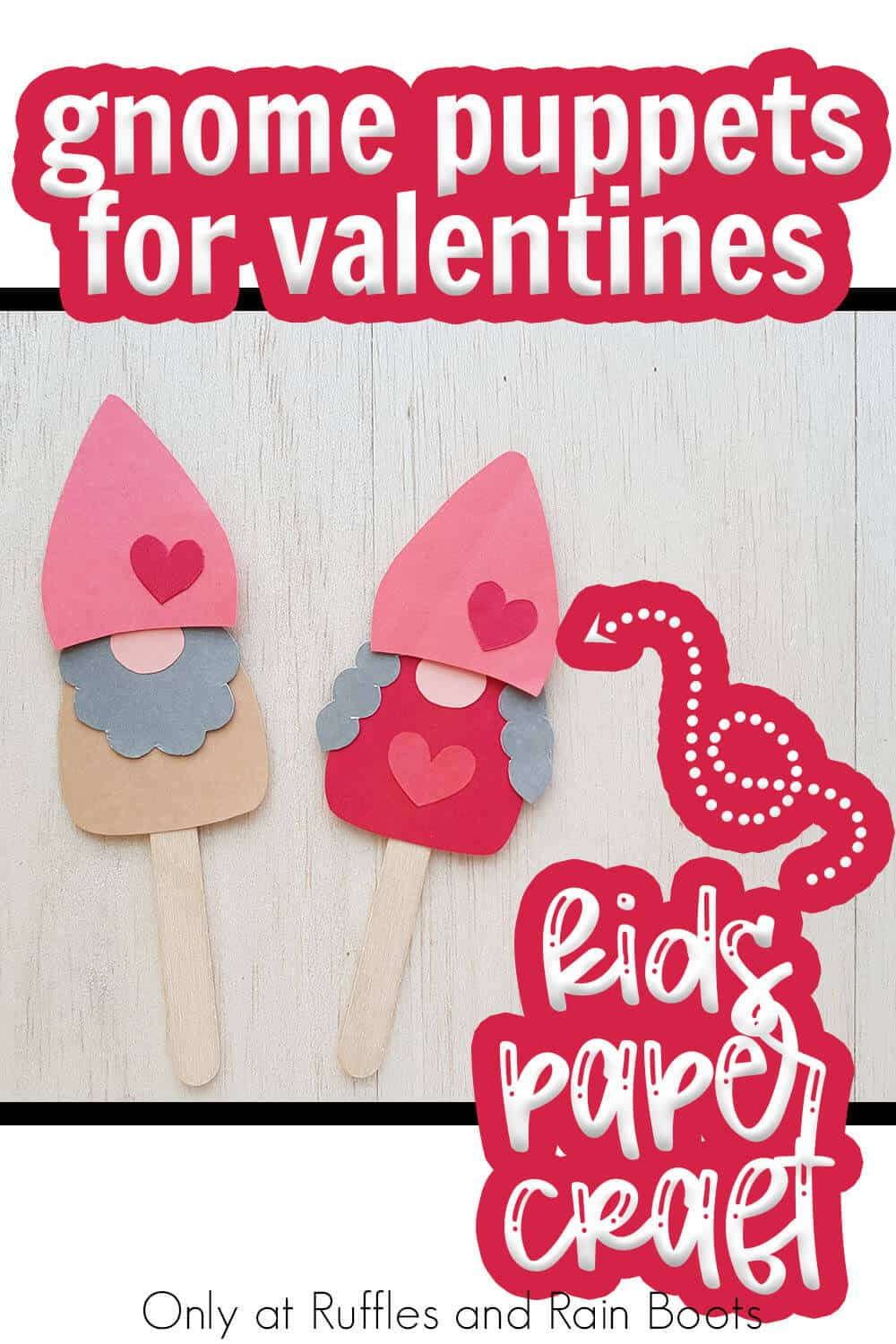 paper puppet gnome kids craft for valentines with text which reads gnome puppets for valentines kids paper craft