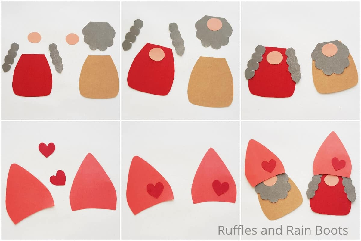 photo collage tutorial of how to make a gnome popsicle stick puppet