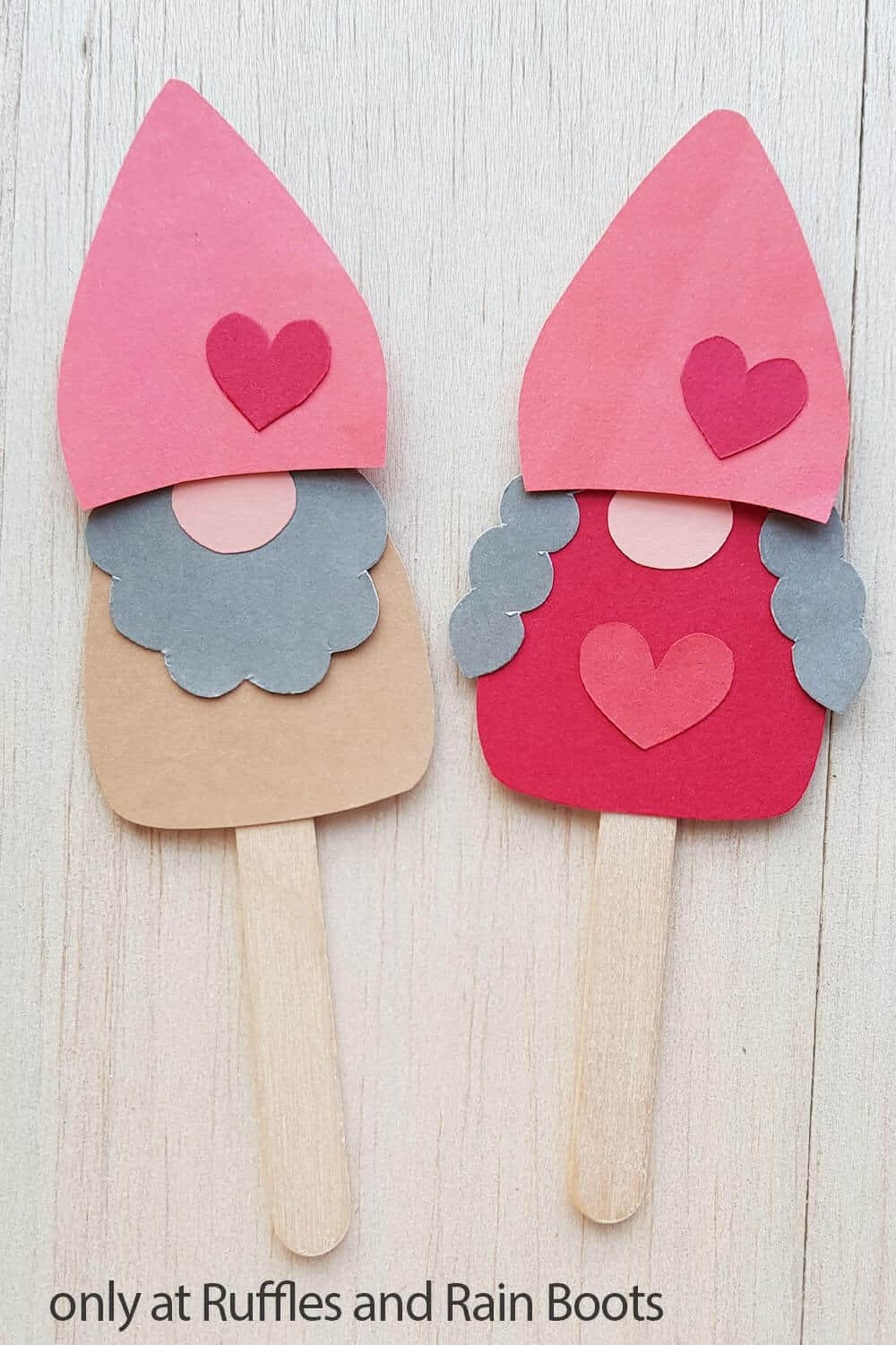 gnome puppet valentines paper craft for kids