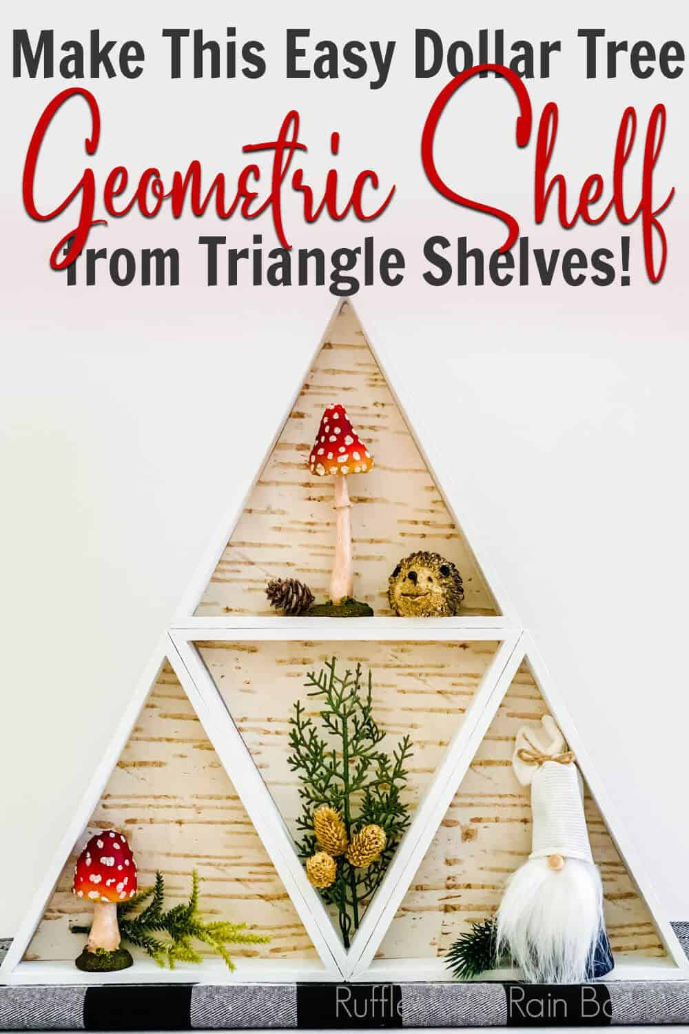diy dollar tree craft from triangle shelves with text which reads make this easy dollar tree geometric shelf from triangle shelves!