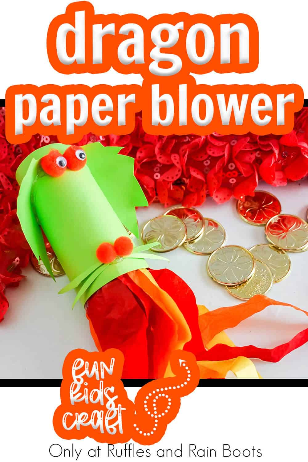 kids craft fire breathing dragon blower with text which reads dragon paper blower kids paper craft