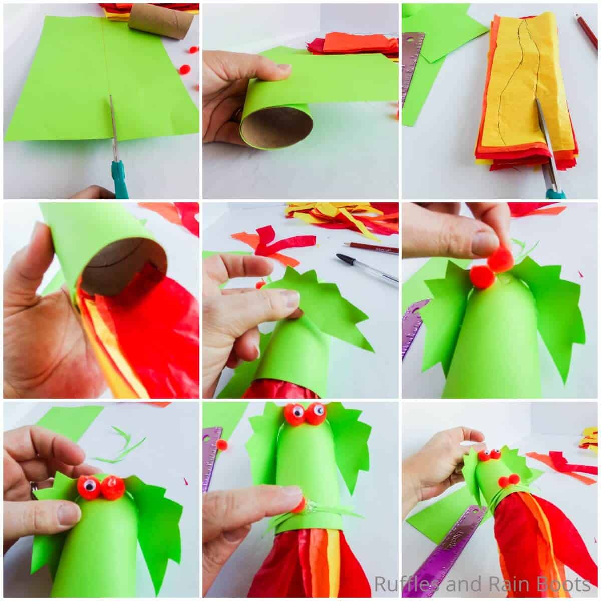 photo collage tutorial of how to make a dragon blower paper craft