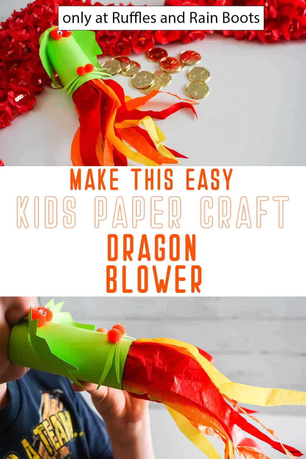 photo collage of dragon paper blower paper craft for kids with text which reads make this easy kids paper craft dragon blower