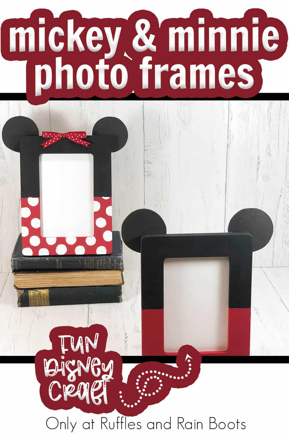 mickey and minnie themed photo frame craft with text which reads mickey & minnie photo frames easy disney craft