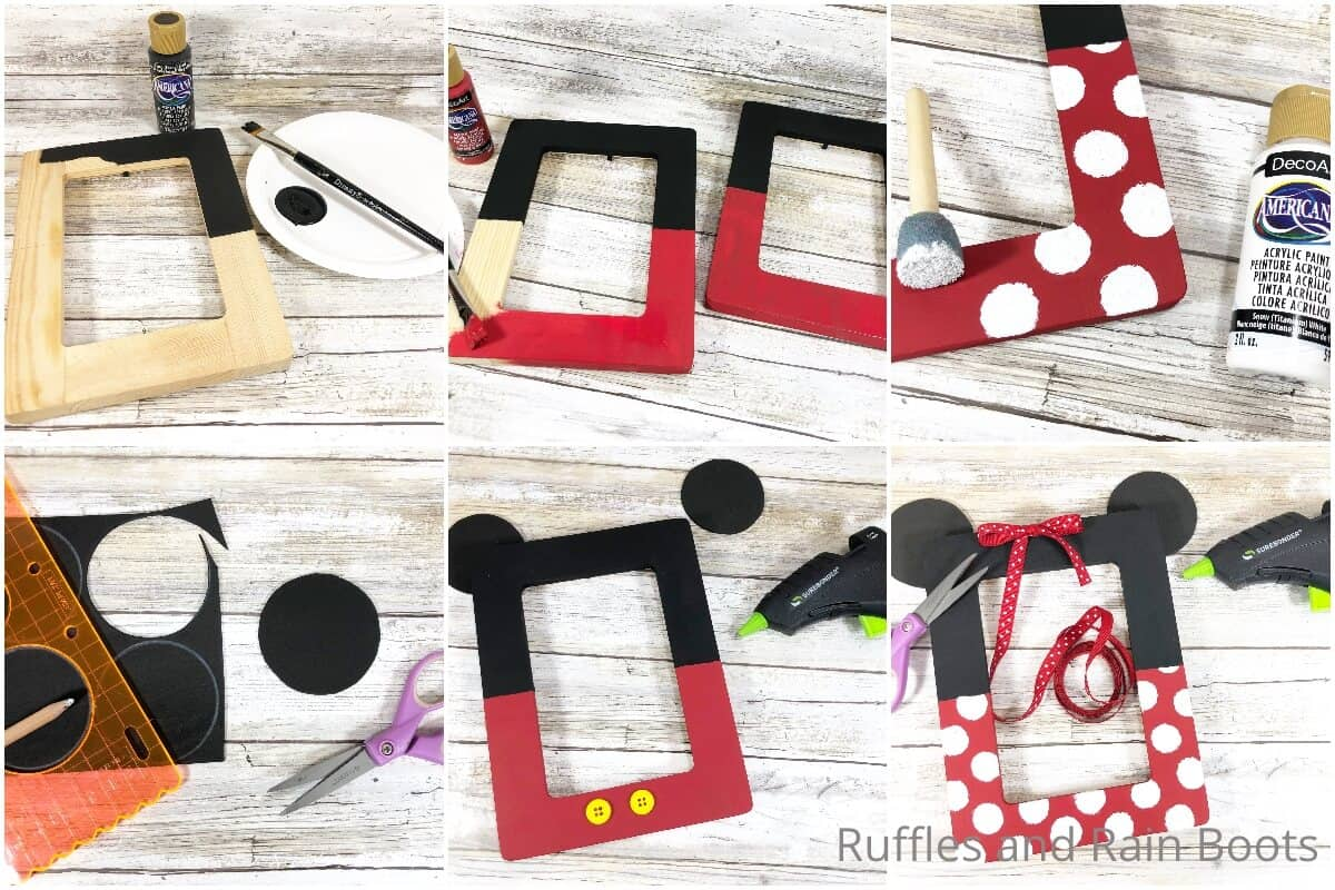 photo collage tutorial of how to make a mickey & minnie frame
