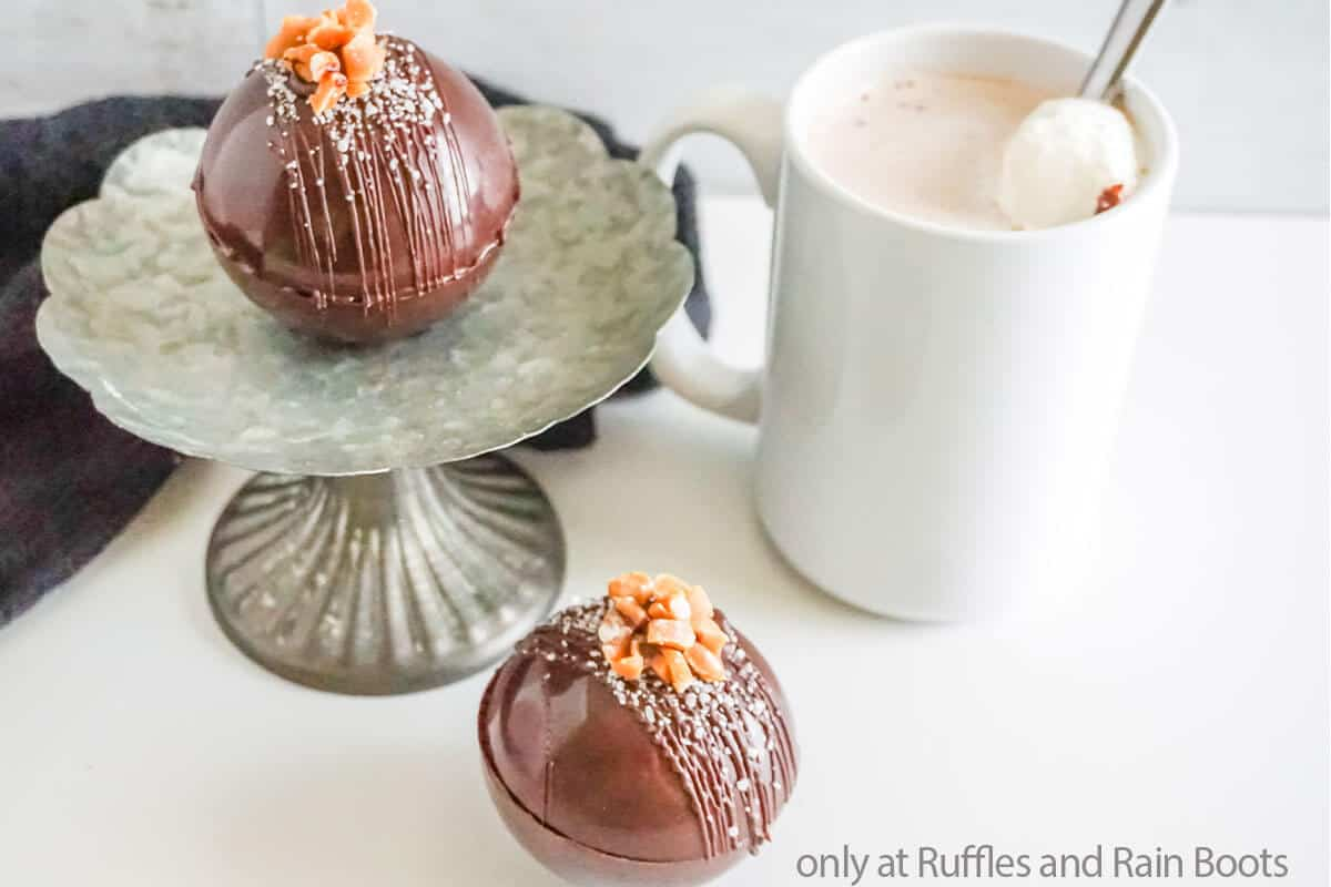 easy homemade hot cocoa bombs with salted caramel flavor