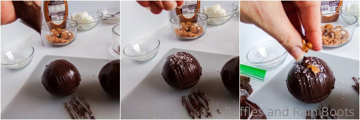 photo collage of how to make salted caramel hot chocolate bombs