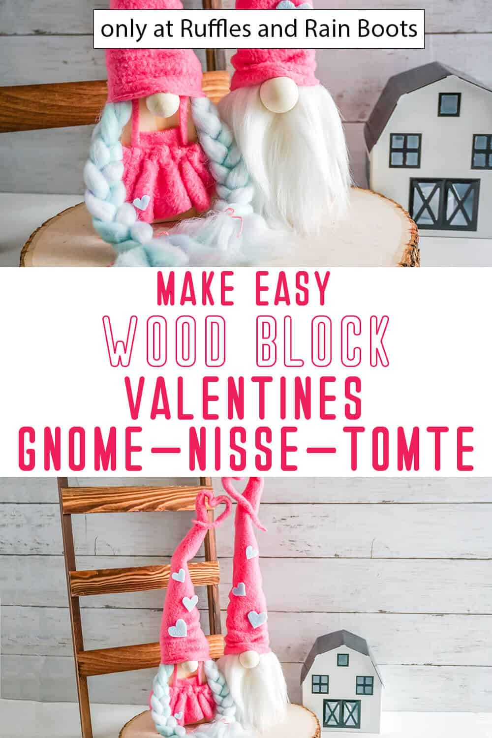 photo collage of valentines wood gnomes with text which reads make easy wood block valentines gnome nisse tomte