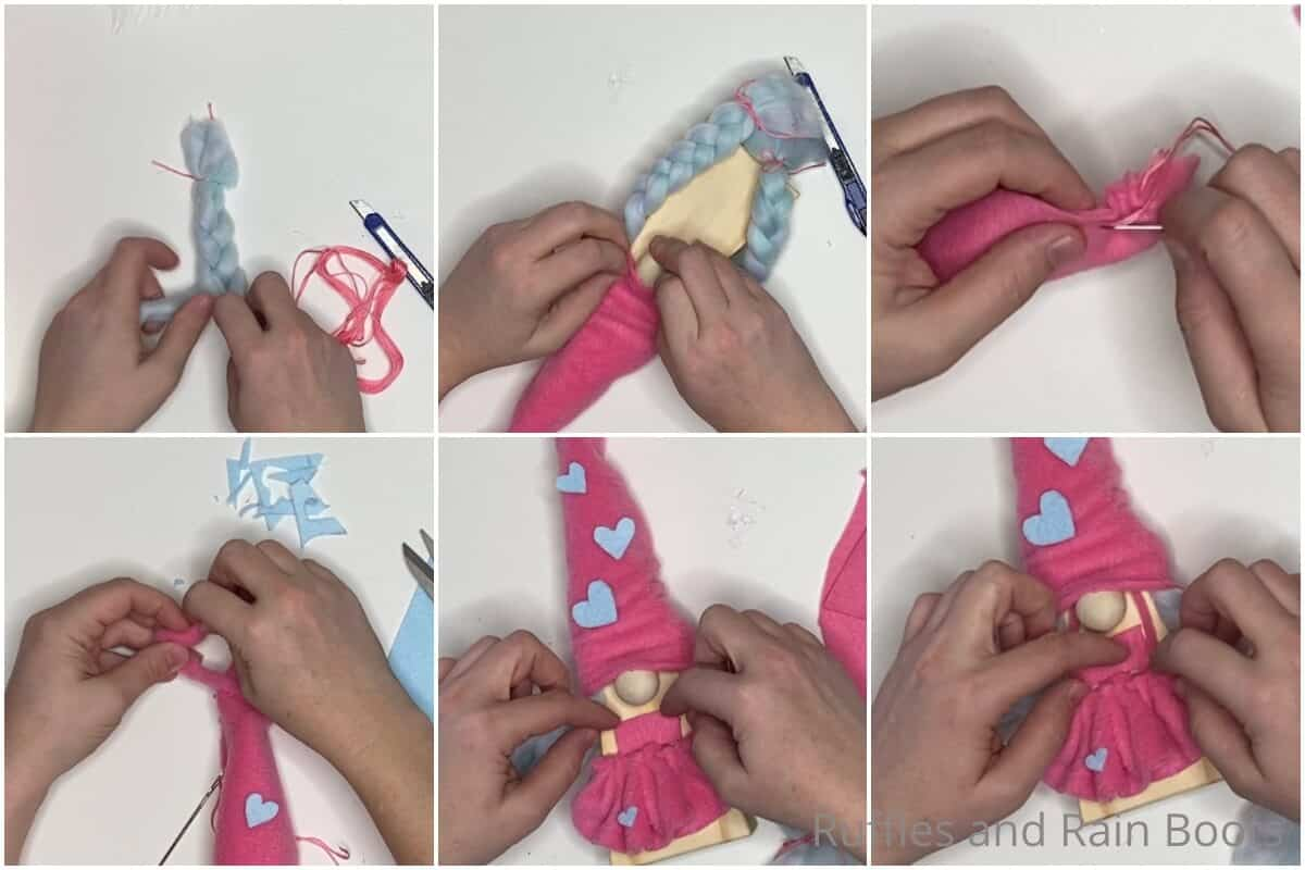 photo collage tutorial of how to make wooden gnomes for valentines