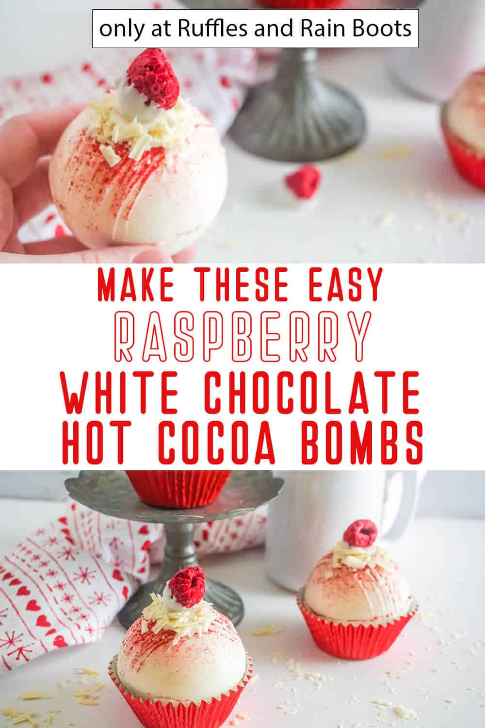 photo collage of white chocolate hot cocoa bombs with raspberry with text which reads make these easy raspberry white chocolate hot cocoa bombs