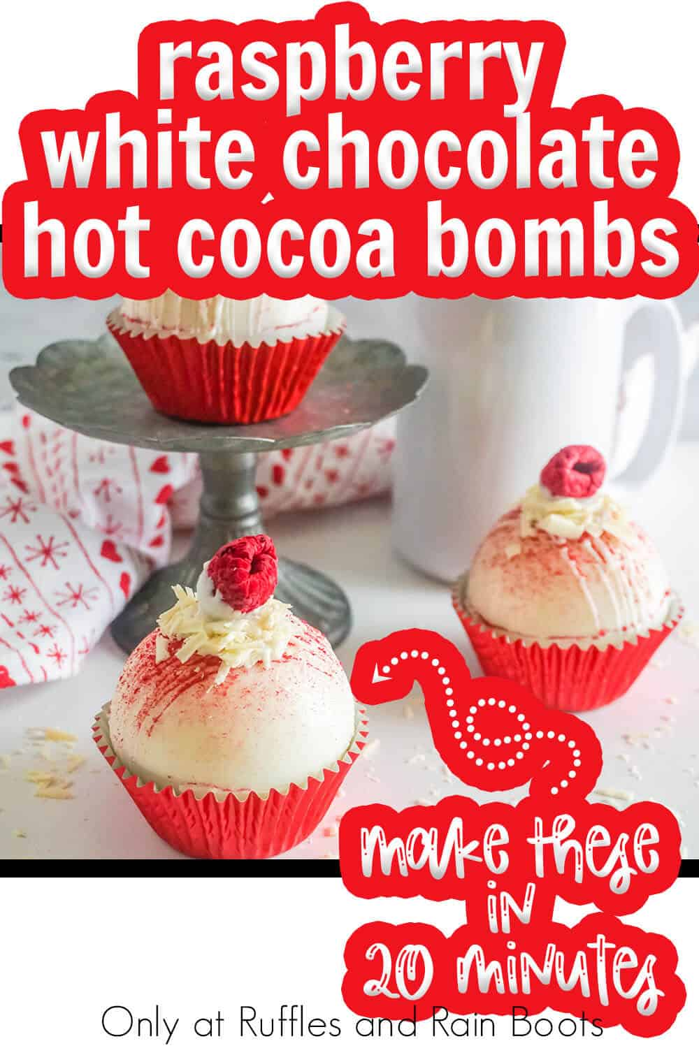 DIY hot chocolate bombs with white chocolate and raspberry with text which reads raspberry white chocolate hot cocoa bombs make these in 20 minutes