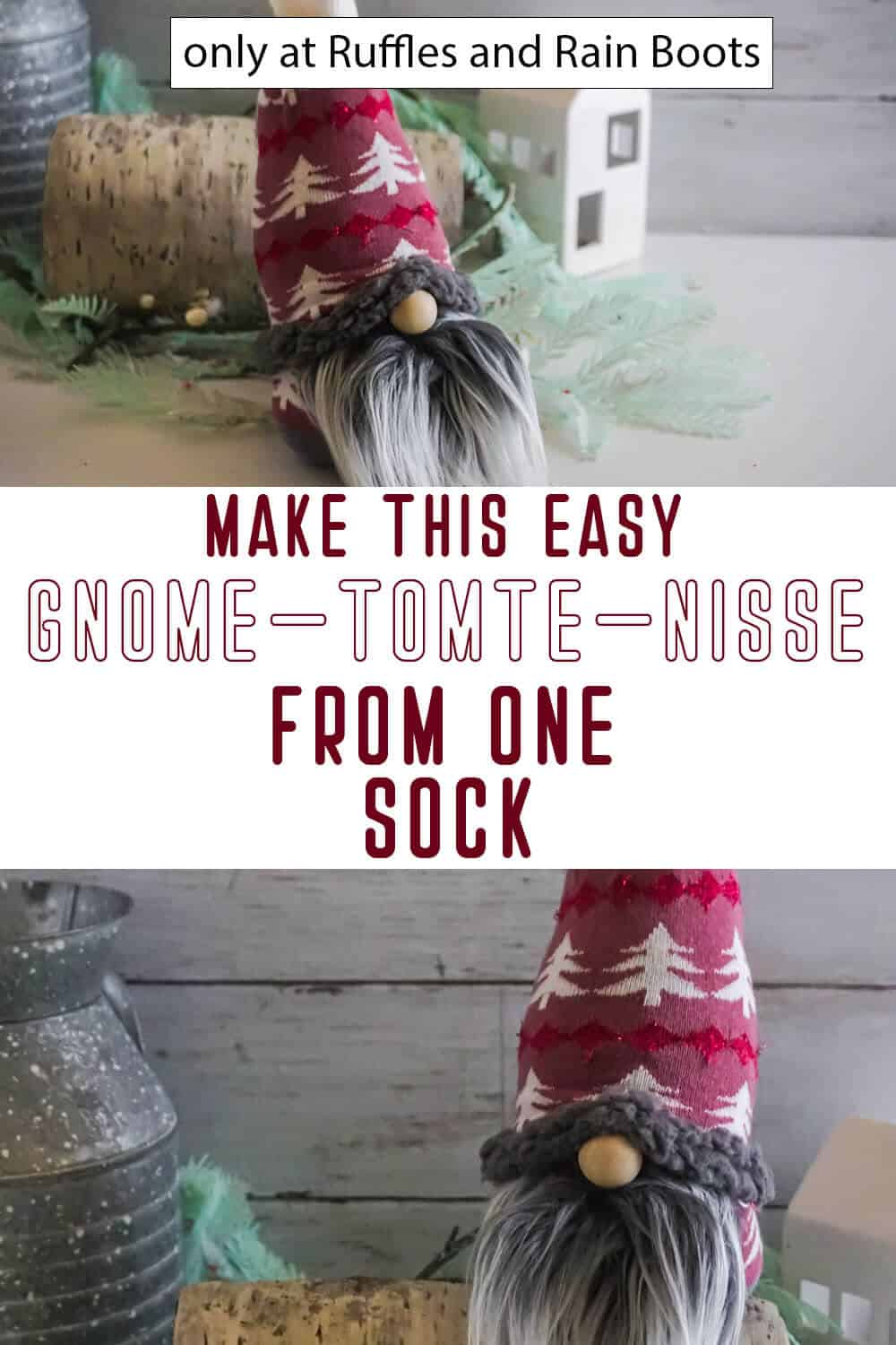 photo collage of one sock gnome with text which reads make this easy gnome tomte nisse from one sock