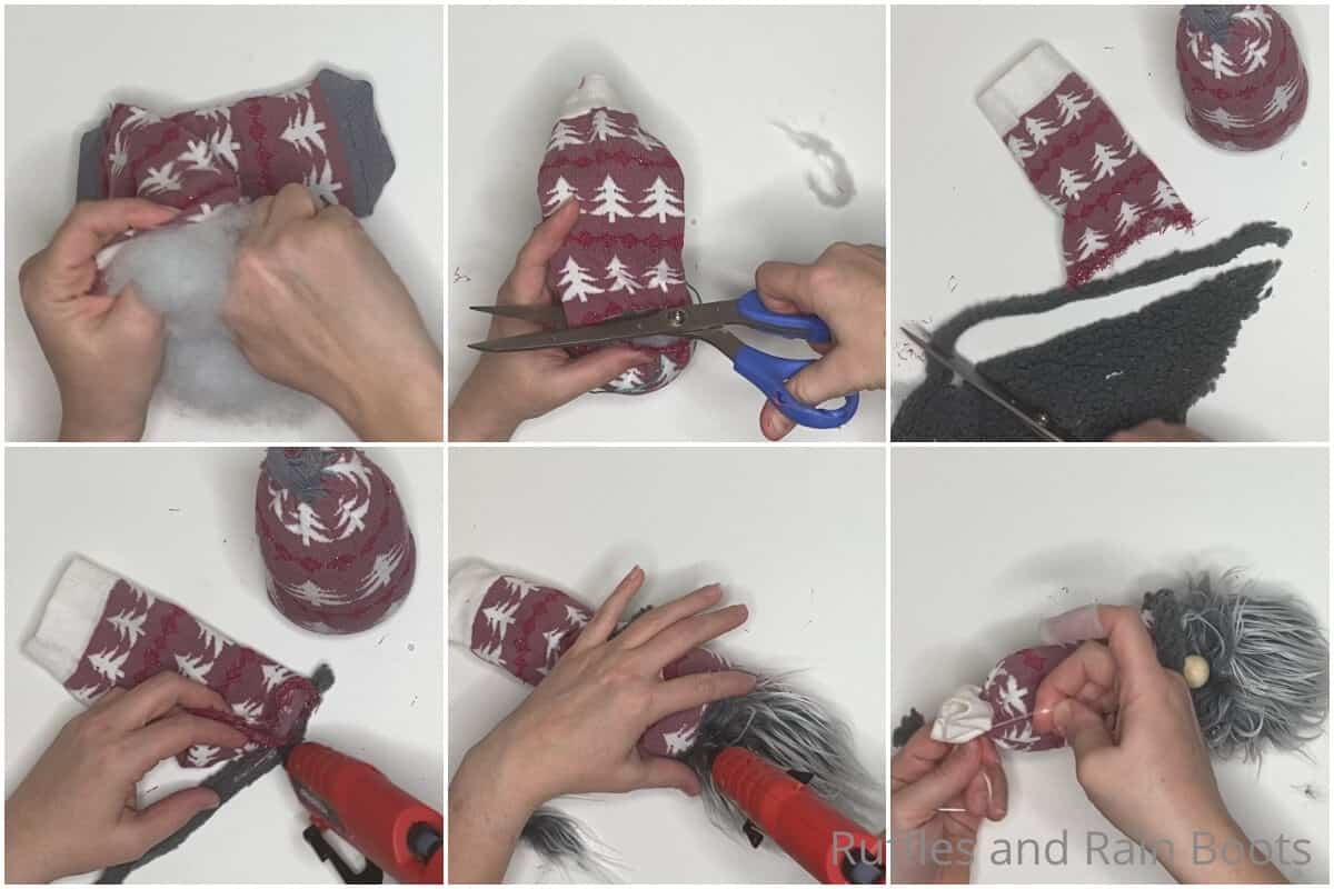 photo collage tutorial of how to make a gnome from one sock