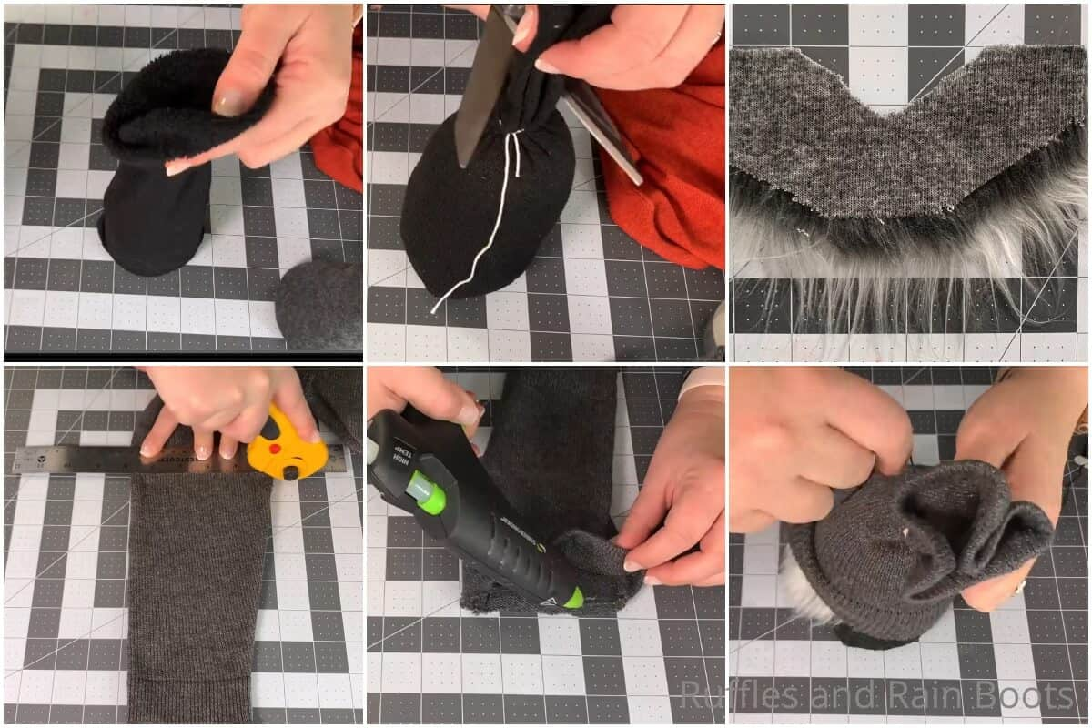 photo collage tutorial of how to make a stable sock gnome
