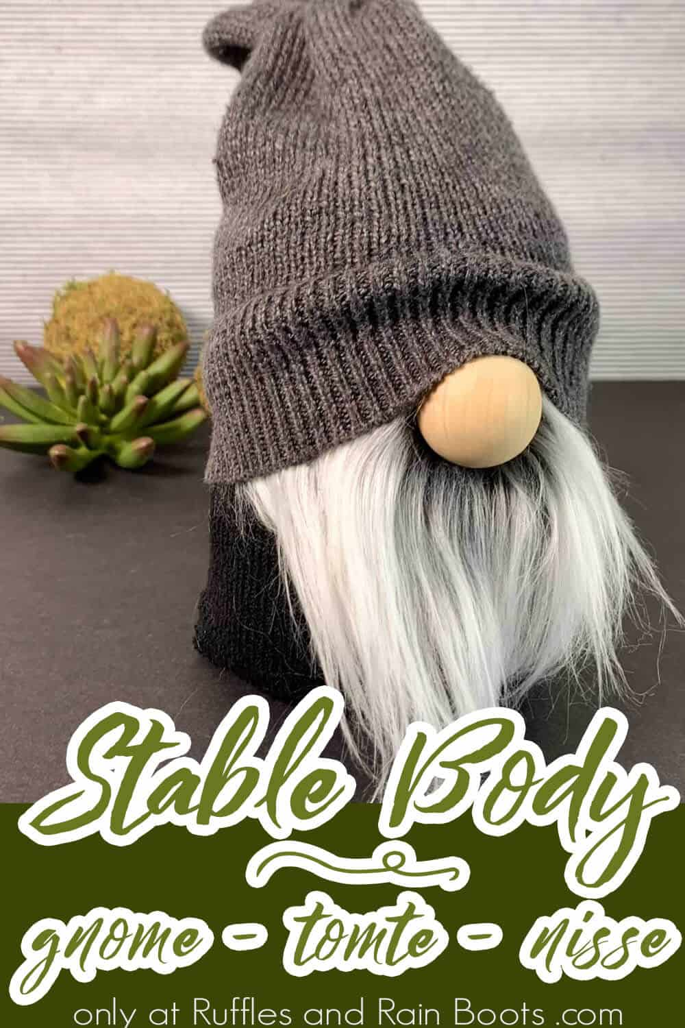 easy stable gnome pattern with a sweater sleeve hat with text which reads stable body gnome tomte nisse